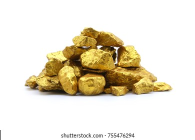 Gold nugget grains isolated on white background.