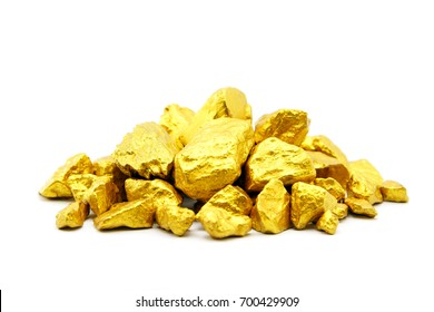 Gold nugget grains on white background.