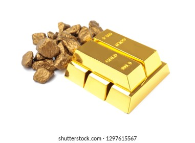 Gold nuggets and ingots on white background