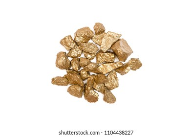 Gold nuggets isolated on the white background. Painted with gold paint granite stones.