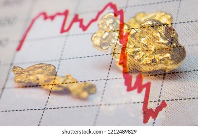 Gold nuggets and stock market graph