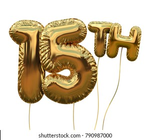 Gold Number 15 Foil Birthday Balloon Isolated On White Golden Party Celebration 3D Rendering