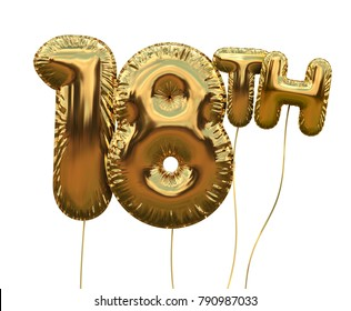 Gold number 18 foil birthday balloon isolated on white. Golden party celebration. 3D Rendering