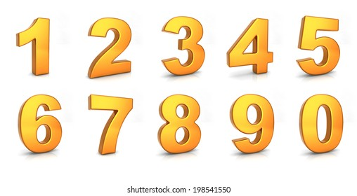 gold number set on white background