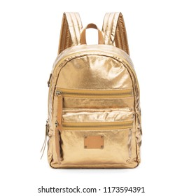 Gold Nylon Backpack Backpack Isolated on White Background. Side View Golden Satchel with Zippered Compartment. Travel Daypack. School Shoulder Bag with Straps. Women's Shimmering Metallic Trek Pack