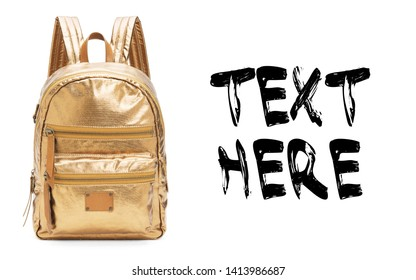 Gold Nylon School Backpack Backpack Isolated on White Background. Travel Daypack. Golden Satchel with Zippered Compartment and Haul Loop at the Top. Shoulder Bag with Straps Side View