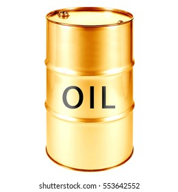 Gold Oil Barrel Isolated on White Background. Black Gold