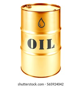 Gold Oil Barrel Isolated on White Background. Black Gold. Storage Drum