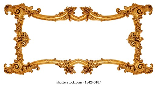 Gold Old picture frame on white background.