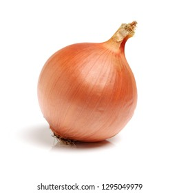 Gold onion vegetable bulbs on white background
