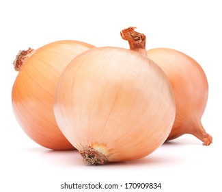 Gold onion vegetable bulbs on white background cutout