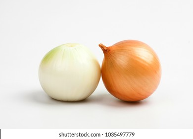 Gold onion vegetable on white background cutout