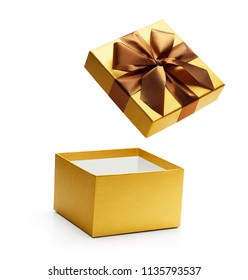 Gold open gift box isolated on white background