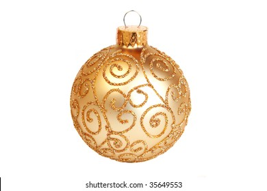 gold ornament with glitter pattern - isolated