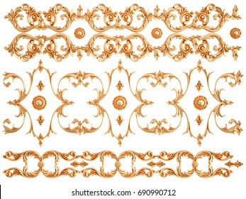 Gold ornament on a white background. Isolated. 3D illustration