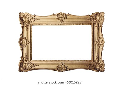 gold ornate eleaborate frame isolated on a white background