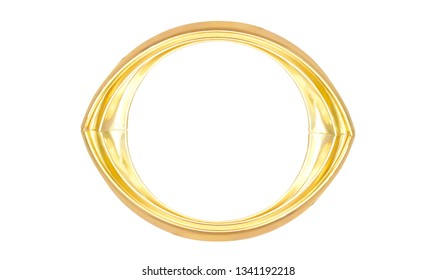 Gold oval frame isolated on white background