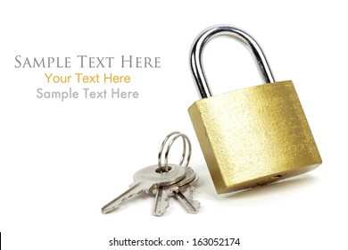 Gold Padlock with keys and easy to remove text, Isolated on white background