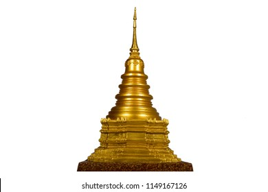 gold pagoda model isolated on white background