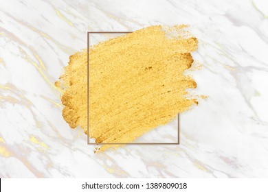 Gold paint with a golden rectangle frame on a white marble background illustration