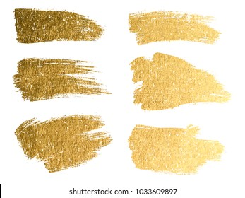 Gold paint smear stroke stain set. Abstract gold glittering textured art illustration.