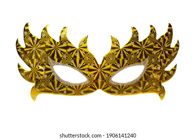 Gold paper carnival masks isolated on white.