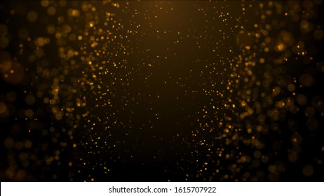 gold particles abstract background with shining golden floor particle stars dust.Beautiful futuristic glittering in space on black background.