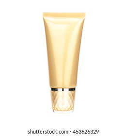 Gold pearliest tube mockup template for cosmetic cream or gel, ready to design isolated on white background with clipping path