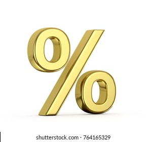 Gold percent on a white background. 3D illustration