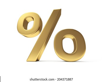 A gold percent sign isolated on white background