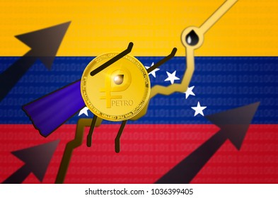 Gold PETRO (national Venezuela cryptocurrency) coin with painted hands, feet and blue cape is flying up. Concept of a superhero and strength and growth rate petro. New cryptocurrency; el petro; ptr