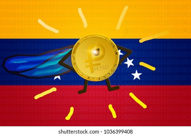 Gold PETRO (national Venezuela cryptocurrency) coin with painted hands, feet and blue cloak stands in pose of a super hero. Concept of strength and growth rate petro. New cryptocurrency; el petro; ptr
