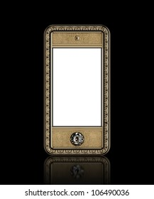 Gold phone with  blank touch screen and the diamond button for VIP  isolated on black background (front version)