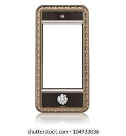 Gold phone with touch screen technology and the diamond button for VIP isolated on white (leather version)