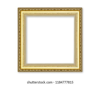 Gold picture frame with carving flower pattern  isolated on white background