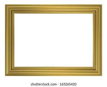 Gold picture frame. Computer generated 3D photo rendering.