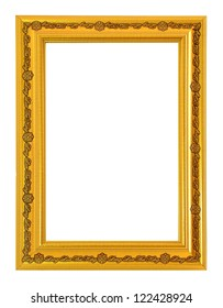 gold picture frame isolate on white