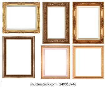 gold  picture  frame isolated on a white background.