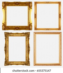 gold picture frame isolated on transparent background.