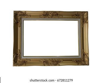 gold picture frame isolated on white background. (clipping path)