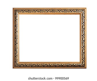 gold picture frame isolated on white