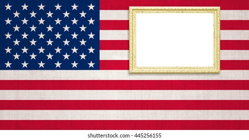 Gold Picture frame on the american flag old cotton