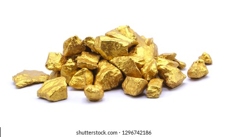 Gold pieces isolated on white background.