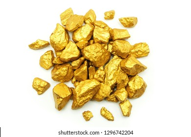 Gold pieces top view isolated on white background.