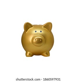 Gold pig doll piggy bank for save coin isolated on white background with clipping path.