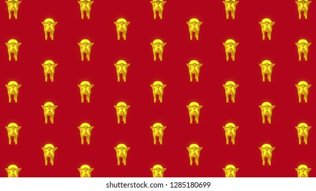 Gold Pig Front Pattern Red Background.