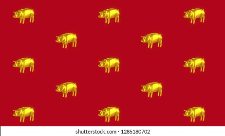 Gold Pig Side 45 Degree Pattern Red Background.