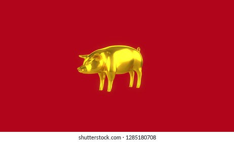 Gold Pig Side 45 Degree  Red Background.