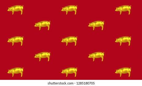 Gold Pig Side Red Background.