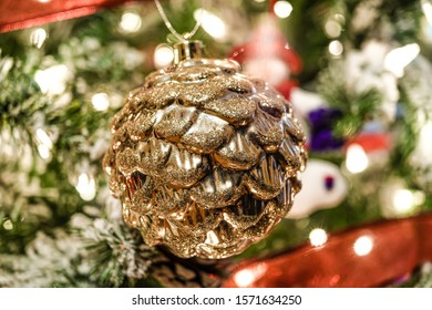 gold pine cone christmas ornament